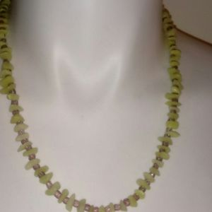 Green Stone & Light Purple Glass Beads Necklace